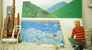 Hockney podczas pracy nad obrazem